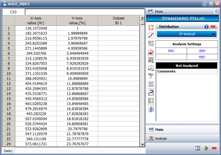 Using Weibull++ to calculate distribution parameters.