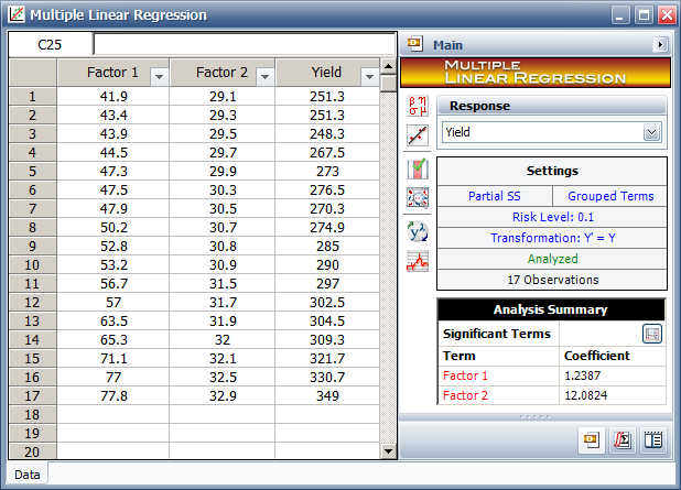 Multiple Regression tool in DOE++ with the data in the table.