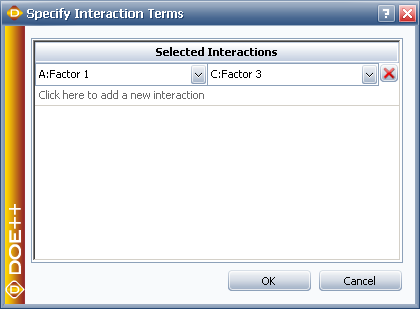 Specifying the interaction terms of interest.