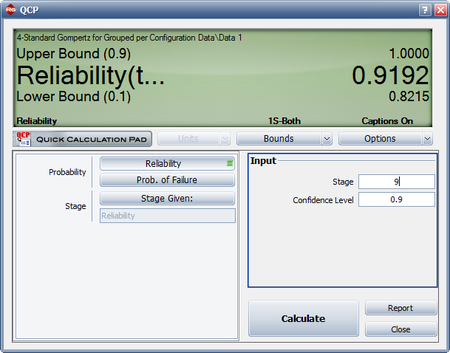 Calculate the reliability at the end of the ninth stage with 90% confidence bounds.