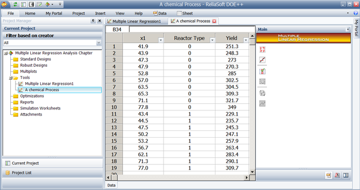 Data from the table above as entered in Weibull++.